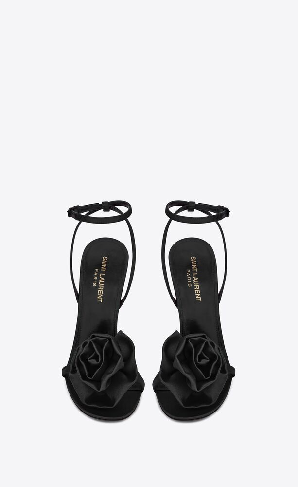 ivy flower sandals in silk satin