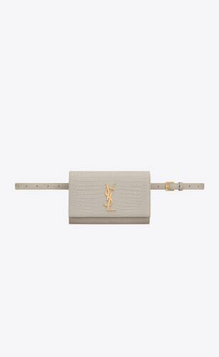 kate belt bag in crocodile-embossed shiny leather