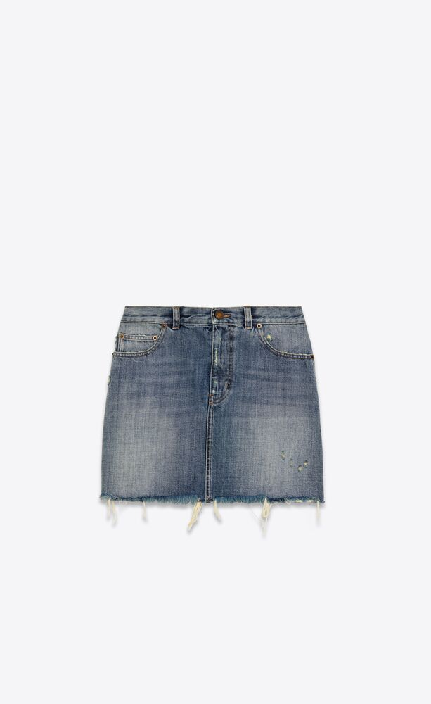 classic raw-edge mini skirt in sandy fall blue denim
