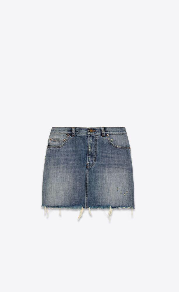 classic raw-edge mini skirt in sandy fall blue denim