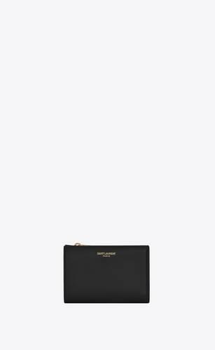 bifold-portemonnaie mit reißverschluss aus glänzendem leder