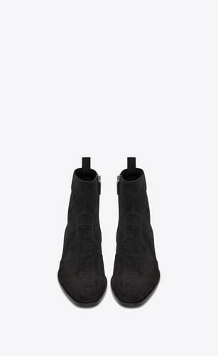 wyatt zipped boots in tejus-embossed suede