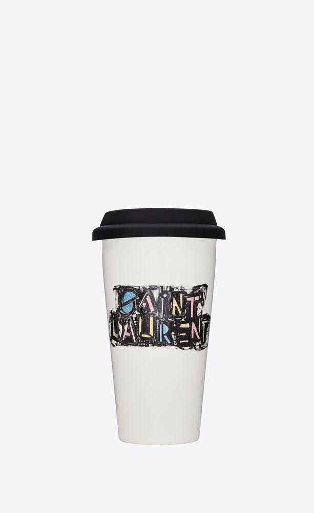 """saint laurent felt tip"" print coffee mug in ceramic"