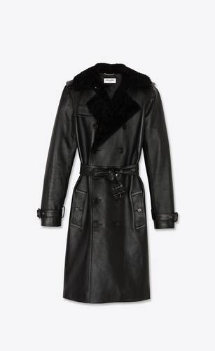 trench coat in grained leather and shearling