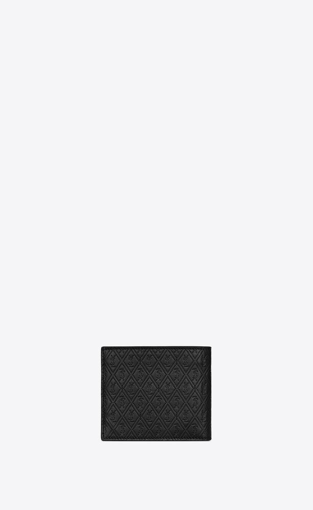 monogram east/west wallet in embossed smooth leather