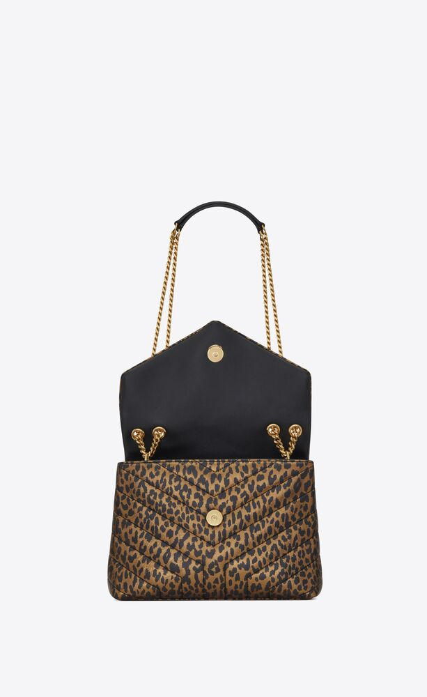 """loulou small en cuir métallisé à imprimé léopard matelassé """"y"""""""
