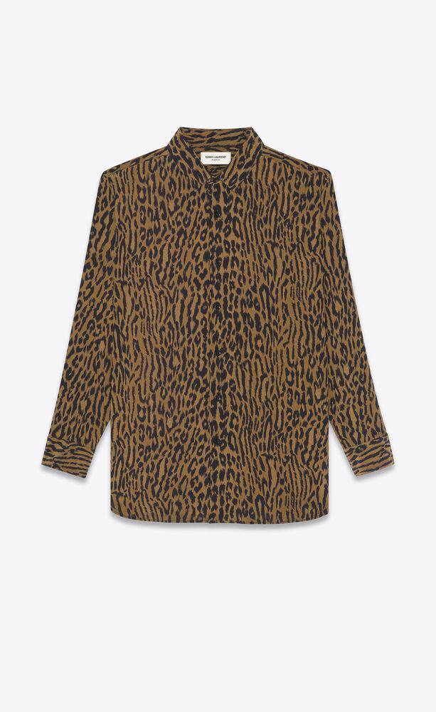 surchemise longue en crêpe de chine de soie à imprimé léopard