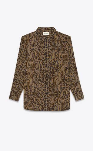 long overshirt in leopard-print silk crepe de chine