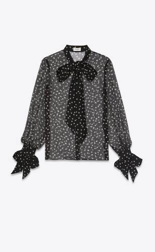 blouse à col lavallière en mousseline de soie à pois