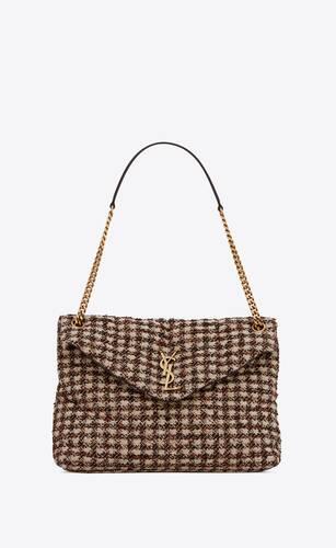 puffer medium bag in checked tweed lambskin