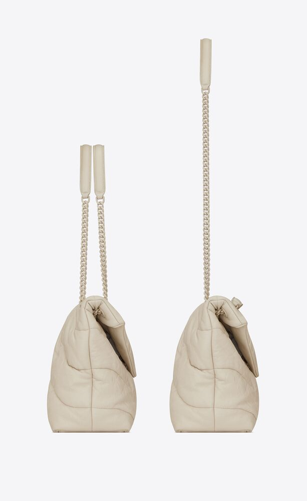 puffer medium bag in quilted wrinkly matte leather and colored hardware