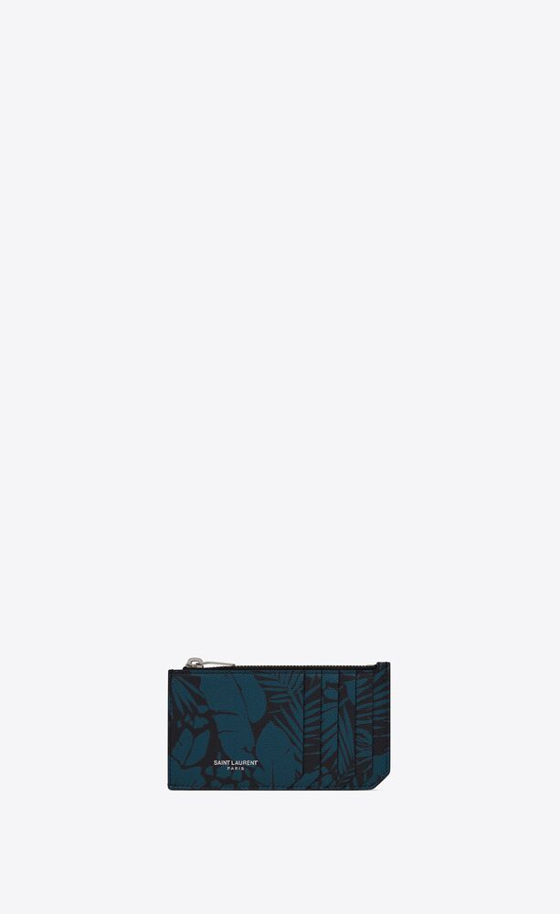 fragments zipped card case in tropical-print grain de poudre embossed leather