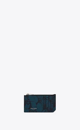fragments porte-cartes zippé en cuir embossé grain de poudre à imprimé tropical