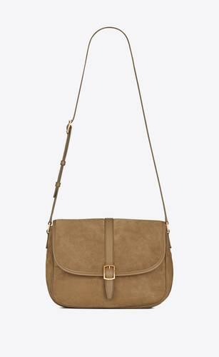 bolso con solapa sorbonne de ante y piel vintage