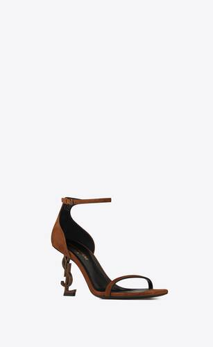 opyum sandals in suede with officer gold-tone heel