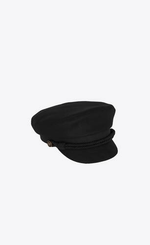 peaked cap in wool felt and leather