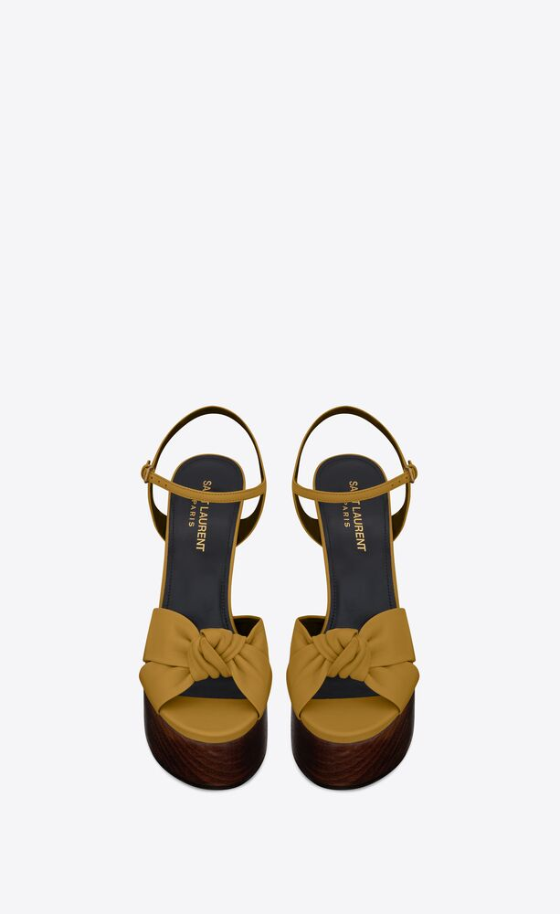 bianca sandals in smooth leather and wood