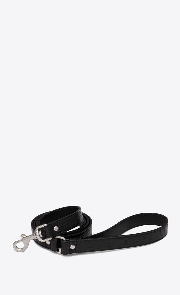 dog leash in crocodile-embossed leather