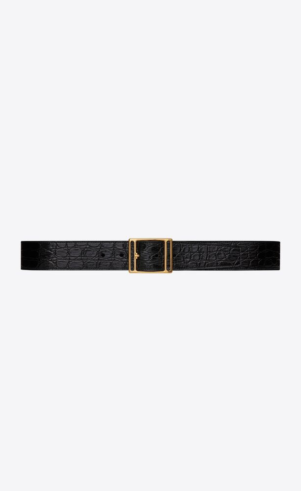 screen buckle belt in crocodile-embossed leather