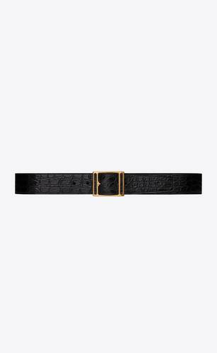 screen buckle belt in crocodile-embossed leather