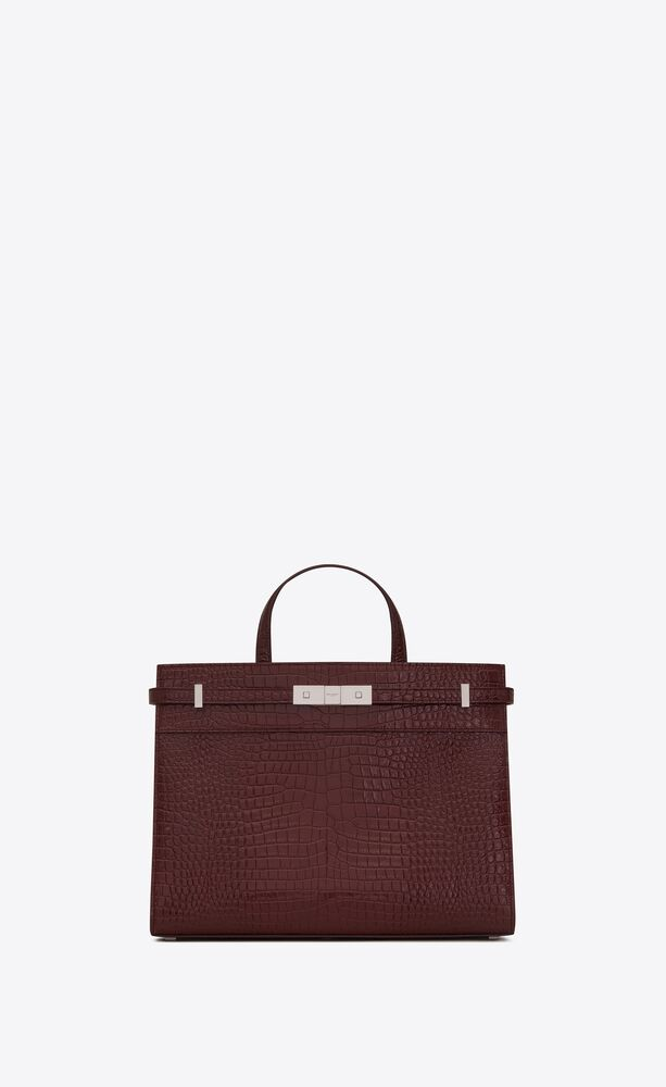 manhattan small shopping in crocodile embossed shiny leather