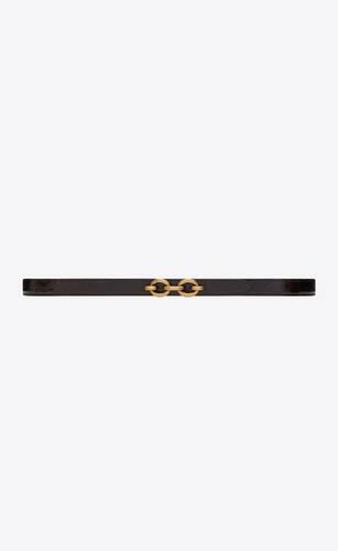 maillon ceinture fine en cuir brillant embossé écailles