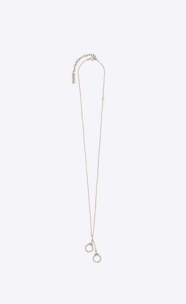 handcuffs pendant necklace in silver