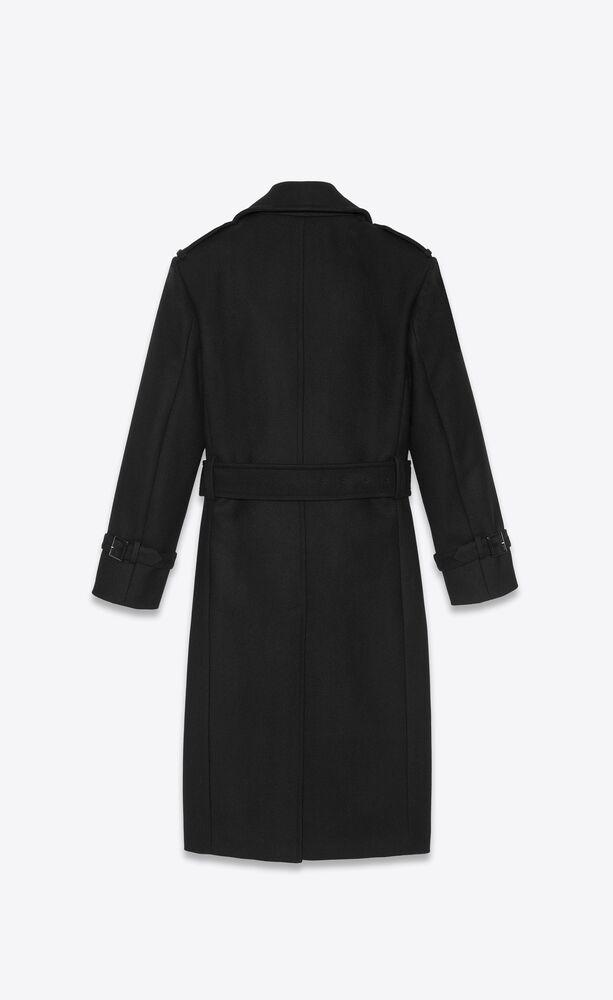 oversized belted coat in wool twill