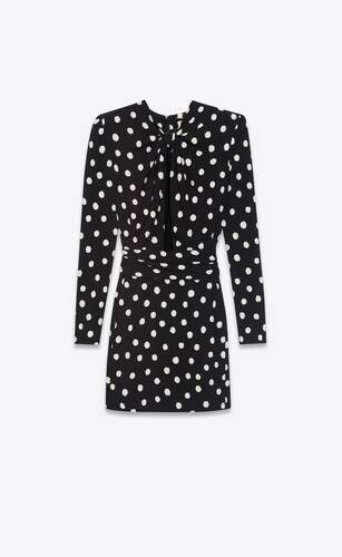 plunging knot mini dress in dotted sablé