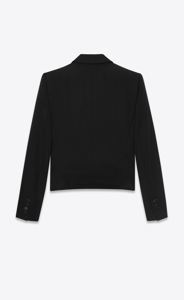 cropped tuxedo jacket in grain de poudre saint laurent