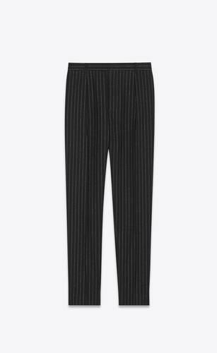 pantalon droit à plis en laine à rayures tennis lamées