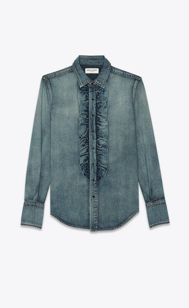 classic shirt with ruffled front in dirty vintage blue denim