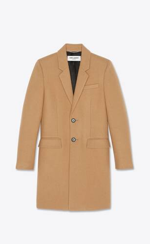 tailored coat in sablé wool felt