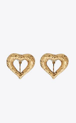 stars & love open heart clip-on earrings in metal
