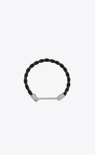 id tag bracelet in woven leather and metal