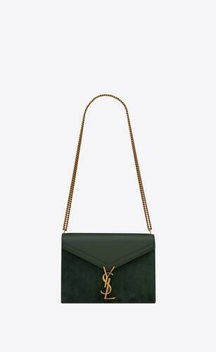 cassandra monogram clasp bag in box saint laurent leather and suede