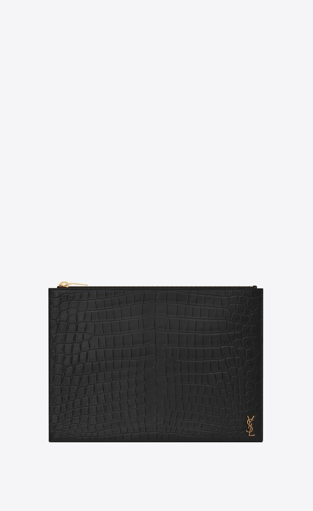 tiny monogram zippered tablet holder in crocodile embossed matte leather