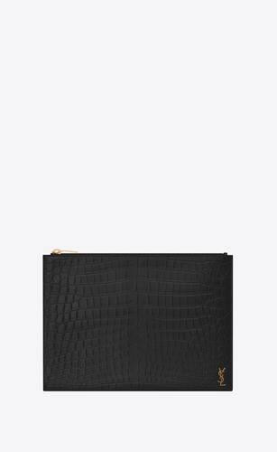 タイニーモノグラムジップ付きタブレットホルダー(クロコダイルエンボスマットレザー)