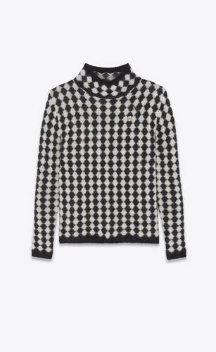 turtleneck sweater in all-over diamond motif