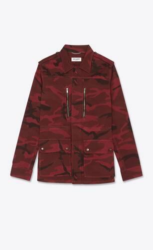 parka aus denim mit rotem camouflage-print