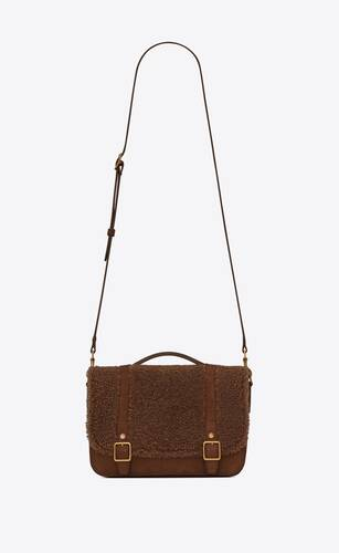 schoolbag mini satchel in shearling and nubuck