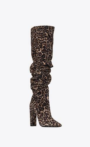 76 over-the-knee boots in leopard-print suede