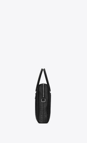 duffle saint laurent briefcase bag in crocodile-embossed matte leather