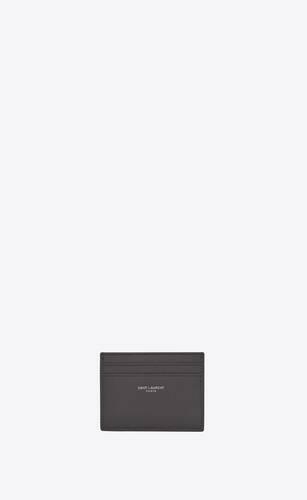 saint laurent paris credit card case in grain de poudre-embossed leather