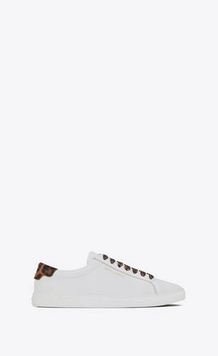 andy sneakers in smooth leather and leopard printed pony effect leather