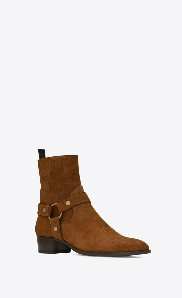wyatt harness boots in crocodile-embossed suede