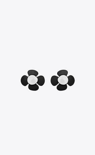 boutons de manchette fleur en métal et laque