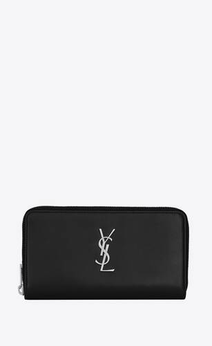 monogram zip-around wallet in box saint laurent leather
