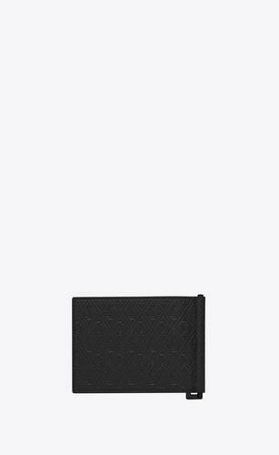 monogram bill clip wallet in embossed smooth leather