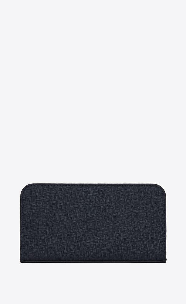 grand portefeuille zippé saint laurent paris en cuir texturé bleu marine